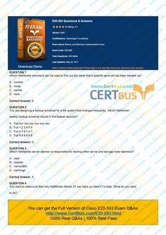 This is a note. Please give me your attention if you are preparing for your EMC E20-593 exam. It is really a tough task to pass Technology Foundations E20-593 exam. However, Certbus will help you on that with the most comprehensive PDF and VCEs of the latest Technology Foundations E20-593 exam questions, covering each and every aspect of Technology Foundations E20-593 Backup and Recovery Implementation Exam exam curriculum. http://www.certbus.com/E20-593.html