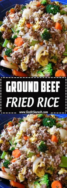 GROUND BEEF FRIED RICE - Easy Healthy Dinner Recipes On a Budget recipes easy recipes easy recipes easy recipes easy easy appetizers easy on a budget Ground Beef Recipes For Dinner, Dinner With Ground Beef, Ground Beef Recipes Easy, Ground Beef Rice, Healthy Ground Beef, Ground Beef Fried Rice Recipe, Ground Turkey, Healthy Beef Recipes, Easy Healthy Dinners