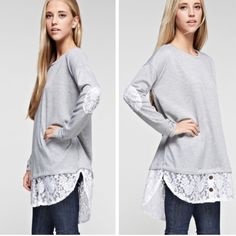 •lace elbow patch tunic• Tunic features layered top with lace underneath and lace elbow patches.  Price firm unless bundled. Material is 95% rayon and 5% spandex.  Small bust measures 46 inches, medium 48, large 50 and xl 53 inches. Length in front 33 inches, back 35 inches.  Price FIRM unless bundled. Tops Tunics