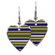 Heart shaped earrings green blue stripes pattern #cafepress #jewelry #style