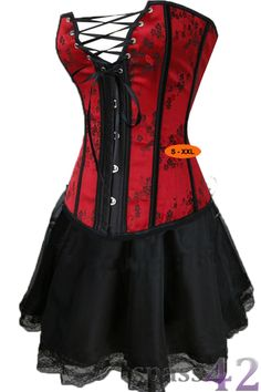 sexy-Cocktail-Corsagen-Kleid-Can-Can-Showgirl-rot-schwarz-Asia-Look-341