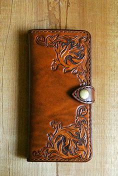 Leather Long Wallet/Hand tooled by PairOfHandsLeather on Etsy