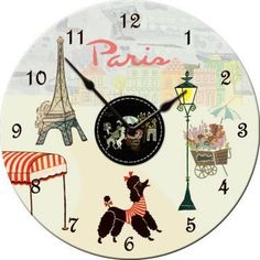 Ooh Lala... vintage-inspired Paris themed wall clock. view full line at www.kleet.dolcemia.com