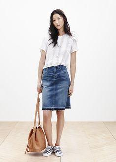 Madewell lace crop tee worn with the raw-edge jean skirt + mini Lafayette crossbody. #springmadewell