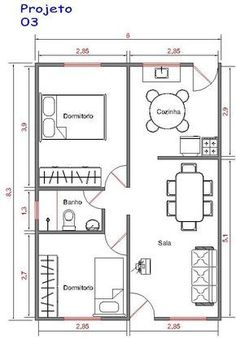 Projeto 3 : 50m² Tiny House Plans Free, Little House Plans, My House Plans, House Floor Plans, Three Bedroom House Plan, Model House Plan, Apartment Floor Plans, Apartment Layout, Small House Design