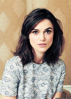 A usually #blonde Keira Knightley looks demure in this dark brown #midlength style