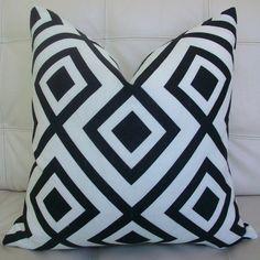 NEW Decorative Designer Pillow Cover - 18X18 - David Hicks for Lee Jofa - Groundworks - La Fiorentina - Geometric Print in Black and White. $62.00, via Etsy.