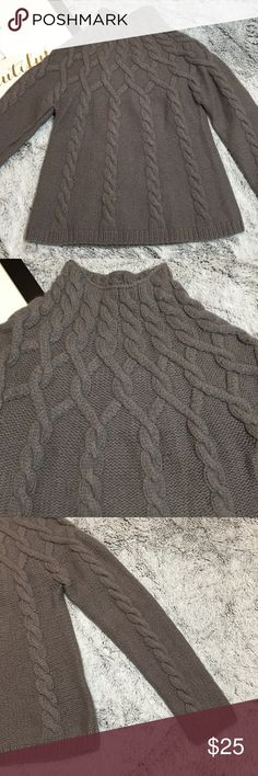 "Boden Sz 12 Grey Knit Cable Swing MockneckSweater Gorgeous detailed knit sweater, must own!  Approx. Measurements laid flat : 17"" across underarm seam to seam 13"" underarm to bottom 23"" shoulder to end sleeve length Fabric gives stretch. Boden Sweaters Cowl & Turtlenecks"