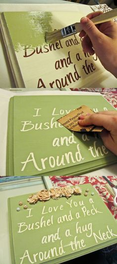 DIY: Wood Sign Made With Stickers! [place stickered letters on wooden sign, paint, then peal off stickers. much easier than handwriting!]