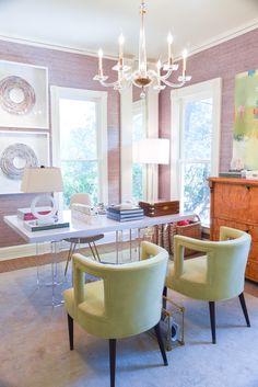 office design with lavender walls | biedermeier chest | lime accent chairs | blue print | blueprintstore.com