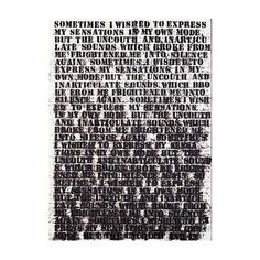 """This one always brings me to the brink of tears.  Study of Frankenstein #1 by Glenn Ligon at Saint Louis Art Museum """"Sometimes I wished to express my sensations in my own mode, but the uncouth and inarticulate sounds which broke from me frightened me into silence again."""""""