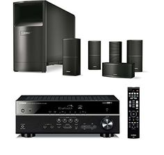 "Bose Acoustimass 10 Series V Home Theater Speaker System, Black, with Yamaha RX-V483 AV Bluetooth Receiver  This Bundle Includes: (1) Bose Acoustimass 10 Series V 5.1 Channel Home Theater Speaker System, Black, and (1) Yamaha RX-V483 5.1-channel AV Receiver with BluetoothDelivering the deep resonant bass to anchor the stereo staging of the smaller cube speaker, the Acoustimass module works in concert to provide a fuller range of theater sound and effectsCube Speakers: Two 2.5"" (6.3.."