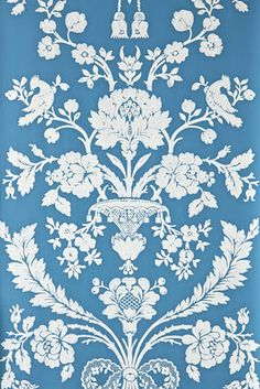 An century French damask paper originally produced in 1793 at St Antoine. St Antoine 909 in Bone and Clunch Full roll width is roll length is pattern repeat is Available in 12 colourways. Floral Print Wallpaper, French Wallpaper, Damask Wallpaper, Pattern Wallpaper, Floral Prints, Victorian Wallpaper, Floral Motif, Wallpaper Designs, Bedroom Wallpaper