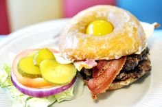 One of my favorites from back home: Broadway Diner's When Worlds Collide is a double cheeseburger topped with a sunny-side-up egg served on a homemade doughnut.