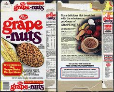 Post - Grape-Nuts cereal box - Delicious Hot Grape-Nuts Recipe Ideas - 1982 by JasonLiebig, via Flickr