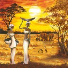 Afbeeldingsresultaat voor cuadros y laminalar africanas Black Art, Black Women Art, African Image, African American Art, Afrika Tattoos, Images D'art, Afrique Art, African Art Paintings, African Theme