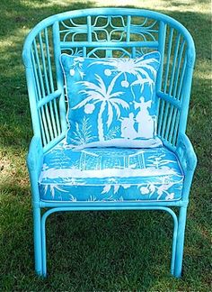 Blue Rattan Chair By Jessie Lauren. So Summery!
