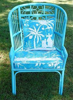 Blue Rattan Chair By Jessie Lauren. So Summery!