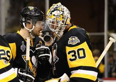 PITTSBURGH, PA - JUNE 08: Goaltender Matt Murray #30 of the Pittsburgh Penguins is congratulated by teammate Sidney Crosby #87 after their 6-0 victory over the Nashville Predators in Game Five of the 2017 NHL Stanley Cup Final at PPG Paints Arena on June 8, 2017 in Pittsburgh, Pennslyvannia. The Penguins lead the series 3-2. (Photo by John Russell/NHLI via Getty Images)