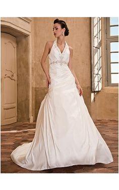 A-line Halter Chapel Train Taffeta Wedding Dress