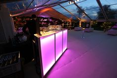 The stunning LED bar in the marquee from Academy Marquees