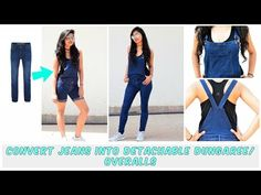 DIY: Convert Old Jeans Into Detachable Dungaree/Overalls( Shorts and Full Leg Version) - YouTube