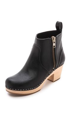 Swedish Hasbeens Zip It Emy Clog Bootie