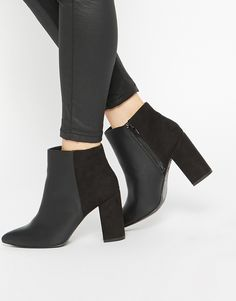 Image 1 ofNew Look Wide Fit Block Heeled Ankle Boots
