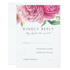 #wedding #responsecards - #Pink Watercolor Flowers Elegant Wedding RSVP Card