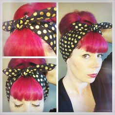 Black with metallic gold polka dots one sided WIDE Headwrap Bandana Hair Bow Tie Vintage Style - Roc