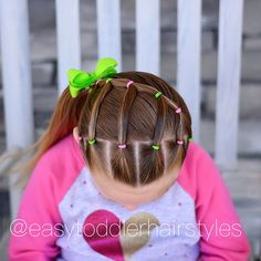 Another cute and fast elastic style, this one takes about 10 mins. Cute Toddler Hairstyles, Girls Hairdos, Lil Girl Hairstyles, Princess Hairstyles, Girls Natural Hairstyles, Trendy Hairstyles, Braided Hairstyles, Crazy Hair, Hair Today