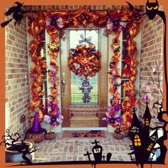custom halloween pumpkinwitches owls deco mesh wreath with halloween and fall garland - Halloween Deco