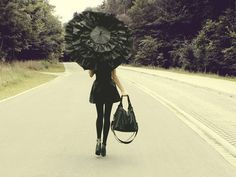 black, tights, umbrella, purse, heels, dress, fashion, road, gothic, photography