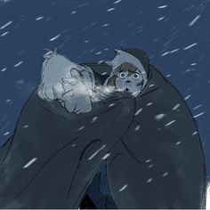 """bulda: """" Never before seen Frozen concept art from Minkyu Lee """"Here's a development drawing I did while working on Frozen. One person is more used to sleeping in the cold than the other…"""" """""""