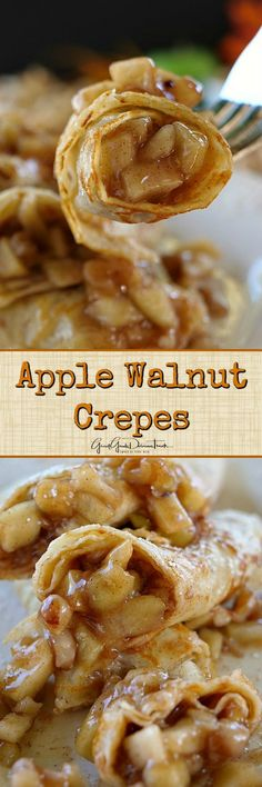 Apple Walnut Crepes is part of Crepe recipes - Easy Crepe Recipe, Crepe Recipes, Brunch Recipes, Sweet Recipes, Dessert Recipes, Dessert Food, Apple Crepes, Savory Crepes, Breakfast Dishes