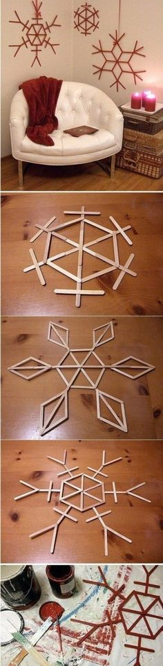 how to make beautiful snowflake wall decoration with used popsicle sticks                                                                                                                                                                                 More