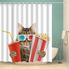 Waterproof Shower Curtain for Bathroom Adorable Cat Gazing a Flower Shower Curtain with 12 Hooks