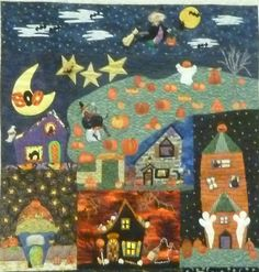 I met Bette Bradley at the Flying Geese guild a few days ago. At show and tell she showed this quilt... I have never seen a Halloween version and wish I had thought of it myself! If I am remembering the story correctly, this is not the only Halloween North Pole quilt Bette has made and I think she made this with another quilter. It may be that you don't know our book, Welcome to the North Pole. Click here to see it. Surprisingly enough, this book is the one of ours that has been in print ...