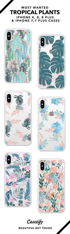 Most Wanted Tropical Plants iPhone X, iPhone 8, iPhone 8 Plus, iPhone 7 and iPhone 7 Plus case. - Shop them here ☝️☝️☝️ BEAUTIFUL BUT TOUGH ✨ - palm trees, vines, floral design, cactus, palm leaves, flower