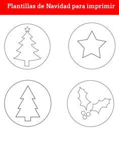 plantillas de navidad para imprimir. Plantilla de arbol, plantillas de acebo, plantilla de estrella