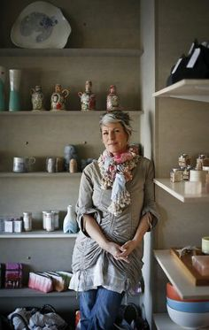 The fab Linda Fahey at her new studio/shop called Yonder in Pacifica. Nice article for the Stylemaker series SF Chronicle