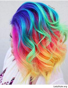 Short rainbow curly hair - LadyStyle