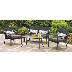 Mainstays Alexandra Square 4-Piece Patio Conversation Set, Grey with Leaves, Seats 4 - Walmart - $300