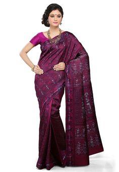Buy Dark Magenta Pure Silk Handloom Baluchari Saree with Blouse online, work: Hand Woven, color: Magenta, usage: Wedding, category: Sarees, fabric: Silk, price: $296.00, item code: SQGA25, gender: women, brand: Utsav