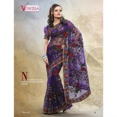 Violet Net Saree