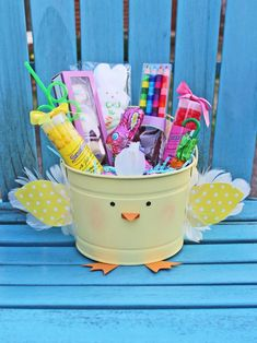 Turn a Bucket Into a Cute Feathered Chick Easter Basket >> http://blog.hgtv.com/design/2015/03/30/diy-feathered-chick-easter-bucket/?soc=pinterest