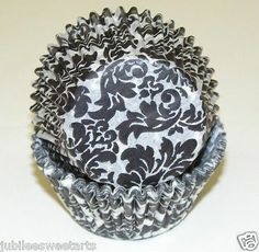 BLACK AND WHITE DAMASK CUPCAKE LINERS 50 CT STANDARD SIZE