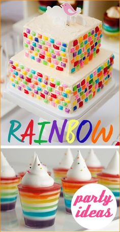 Rainbow Party Ideas.  Great ideas for a boy or girl birthday party.  Fun party theme for a baby shower, St. Patrick's Day party or Easter party.