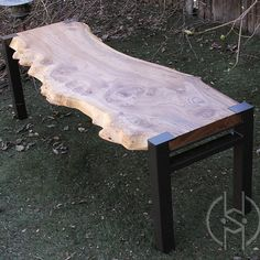 Burled Siberian Elm Slab Bench With Steel Base Live Edge Furniture, Iron Furniture, Home Decor Furniture, Custom Furniture, Furniture Design, Reclaimed Wood Benches, Coffee Table Legs, Steel Table, Bench Plans