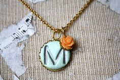 Initial necklace aqua and tangerine clay initial by thepaisleymoon, $20.00